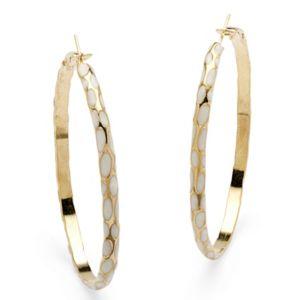 White Enamel Hoop Earrings