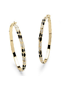 Black & White Enamel Hoop Earrings by PalmBeach Jewelry