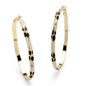Black & White Enamel Hoop Earrings