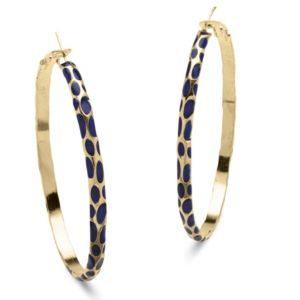 Blue Enamel Hoop Earrings