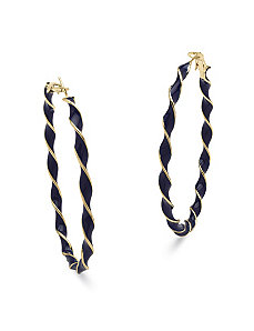 Navy Blue Enamel Hoop Earrings by PalmBeach Jewelry