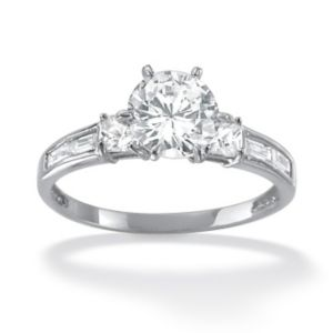 2.14 TCW Cubic Zirconia Ring 10k White Gold