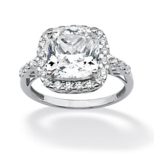 3.20 TCW Cubic Zirconia Halo Ring 10k Gold