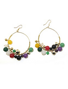 Multi-Colored Jade Beaded Circle Ea by PalmBeach Jewelry