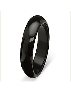 Black Jade Bangle Bracelet 13mm by PalmBeach Jewelry