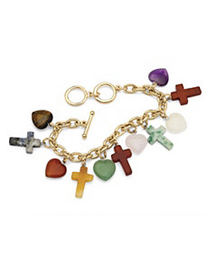 Jade Heart And Cross Charm Bracelet by PalmBeach Jewelry