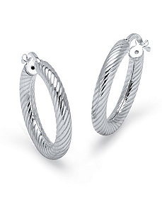 Ribbed Hoop Earrings by PalmBeach Jewelry