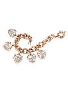 Crystal Heart Charm Bracelet Rose G by PalmBeach Jewelry