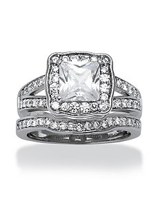 2.50 TCW Cubic Zirconia Ring Set by PalmBeach Jewelry