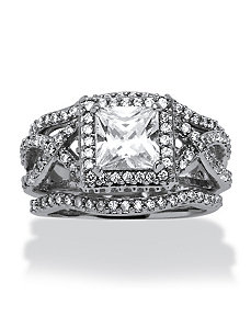 2.82 TCW Cubic Zirconia Ring Set by PalmBeach Jewelry