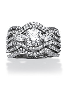 3.40 TCW Cubic Zirconia Ring Set by PalmBeach Jewelry
