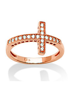 .30 TCW Cubic Zirconia Sideways Cross Ring Rose by PalmBeach Jewelry