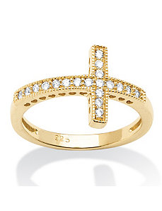 .30 TCW Cubic Zirconia Horizontal Cross Ring by PalmBeach Jewelry