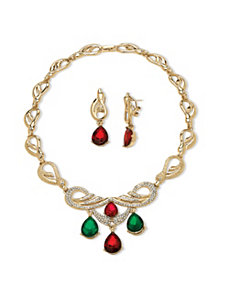 2 Piece Red and Green Jewelry Set by PalmBeach Jewelry