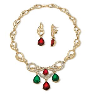 2 Piece Red and Green Jewelry Set