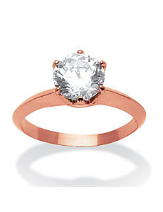 2 Carat Cubic Zirconia Ring in Rose Gold-Plated by PalmBeach Jewelry