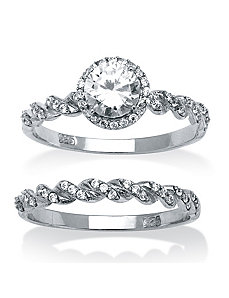 1.26 TCW Cubic Zirconia 2 Piece Set by PalmBeach Jewelry