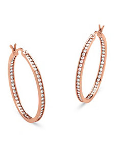 1.44 TCW Cubic Zirconia Hoop Earrings by PalmBeach Jewelry