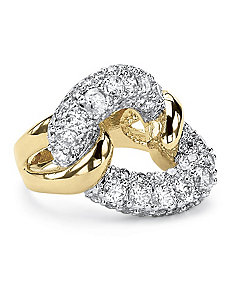 2.95 Cubic Zirconia Link Ring 14k GP by PalmBeach Jewelry