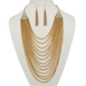 Multi-Chain Jewelry Set in Goldtone