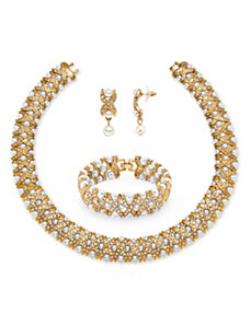 Pearl and Crystal 3 Piece Set by PalmBeach Jewelry