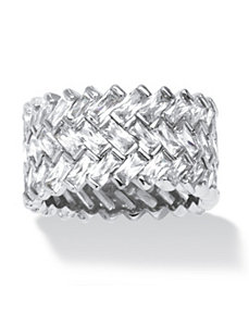 9.66 TCW Cubic Zirconia Chevron Ring POS by PalmBeach Jewelry
