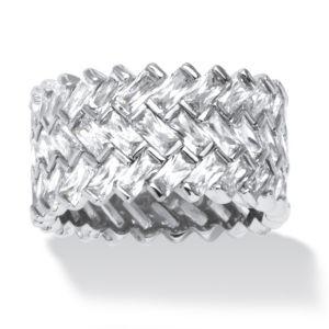 9.66 TCW Cubic Zirconia Chevron Ring POS