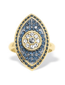 Pave Blue Crystal Eye Ring by PalmBeach Jewelry