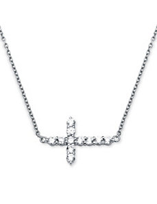 .79 TCW Cubic Zirconia Horizontal Cross Necklace by PalmBeach Jewelry