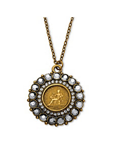 Foreign Coin Pendant Necklace by PalmBeach Jewelry