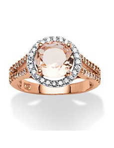 Round Blush Crystal & Cubic Zirconia Halo Ring by PalmBeach Jewelry