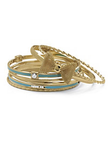 7 Bangle Bracelets Goldtone Blue En by PalmBeach Jewelry