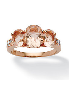 .24 TCW Cubic Zirconia Simulated Morganite Ring by PalmBeach Jewelry