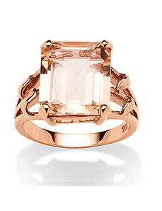 Emerald-Cut Blush Crystal Ring by PalmBeach Jewelry