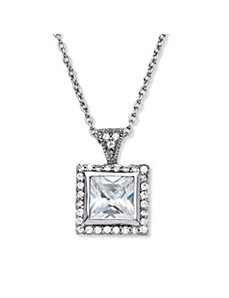 1.12 TCW Cubic Zirconia Pendant Necklace by PalmBeach Jewelry