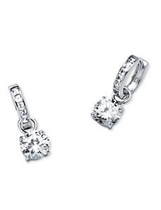 4.40 TCW Cubic Zirconia Huggie Hoop Earrings by PalmBeach Jewelry