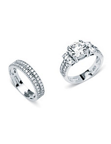 4.18 TCW Cubic Zirconia 2 Piece Ring Set by PalmBeach Jewelry
