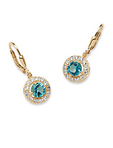Birthstone Halo Drop Earrings by PalmBeach Jewelry