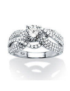 2.97 TCW Cubic Zirconia Curved Ring by PalmBeach Jewelry