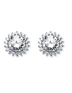 4.72 TCW Round Cubic Zirconia Stud Earrings by PalmBeach Jewelry