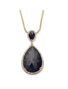 27.89 TCW Pear-Cut Midnight Blue  by PalmBeach Jewelry