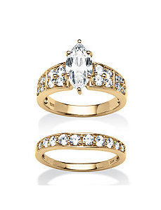 3.08 TCW Cubic Zirconia 2 Piece Bridal Ring Set by PalmBeach Jewelry