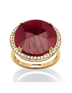 14.53 TCW Ruby and Cubic Zirconia Ring by PalmBeach Jewelry