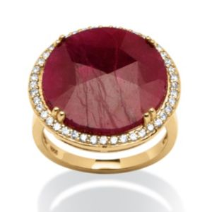 14.53 TCW Ruby and Cubic Zirconia Ring