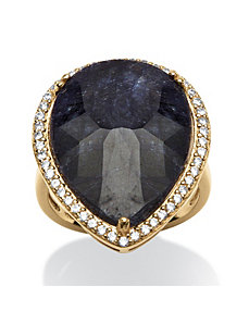 18.63 TCW Pear-Cut Midnight Blue Sa by PalmBeach Jewelry