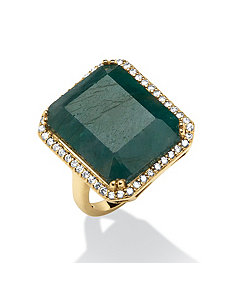 18.84 TCW Emerald-Cut Emerald & Cubic Zirconia by PalmBeach Jewelry