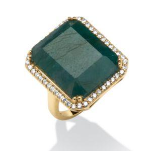 18.84 TCW Emerald-Cut Emerald & Cubic Zirconia