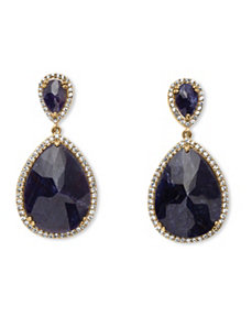 21.08 TCW Pear-Cut Midnight Sapphire by PalmBeach Jewelry