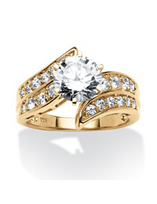 2.54 TCW Cubic Zirconia Bypass Ring by PalmBeach Jewelry