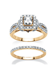 1.28 TCW Cubic Zirconia 2 Piece Ring Set by PalmBeach Jewelry